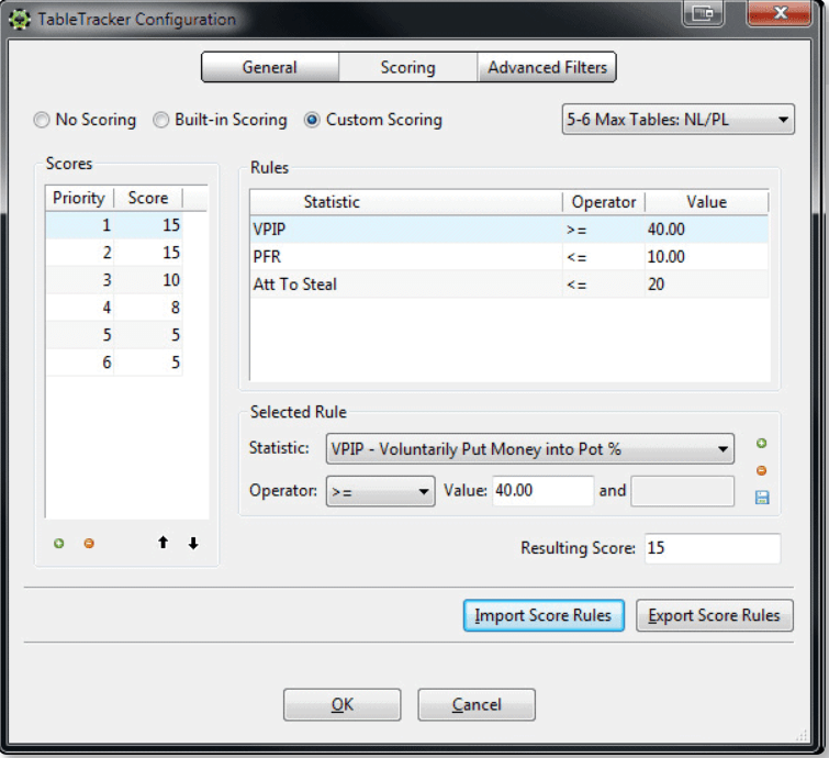 Настройка TableTracker на поиск игроков с VPIP>40 и PFR<10
