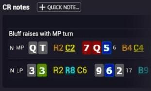 Пример нотсов Hand2Note со вставленными раздачами игрока