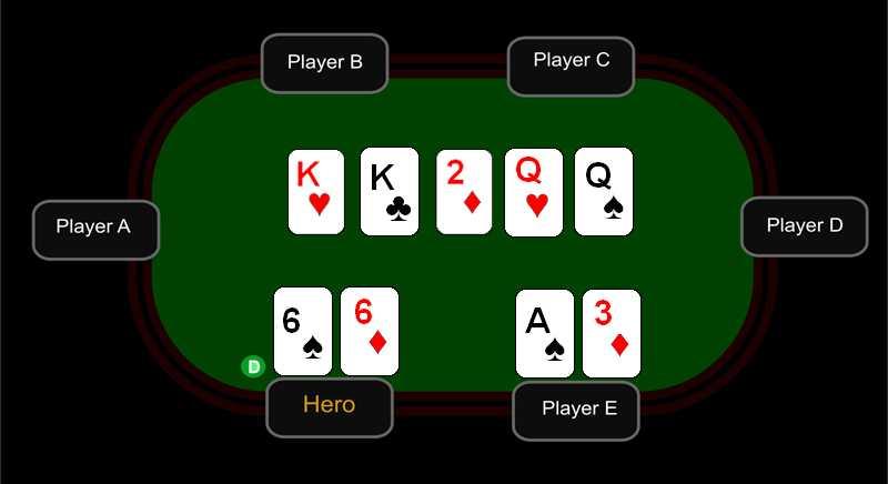 Игрок с шестерками может предположить, что у него KKQQ66