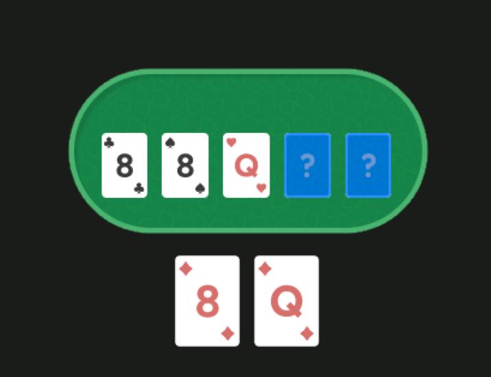 на флопе 88Q, у игрока Q8