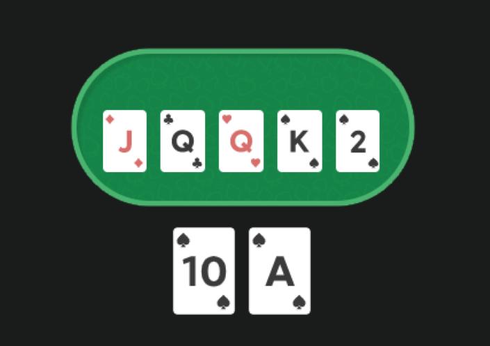 На столе JQQK2, у игрока AT