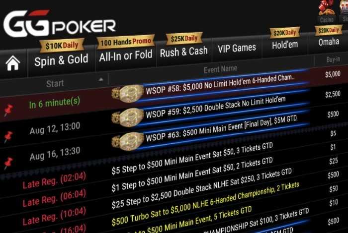 С 1 августа по 12 сентября GGPokerOK примет WSOP Online и разыграет 33 браслета